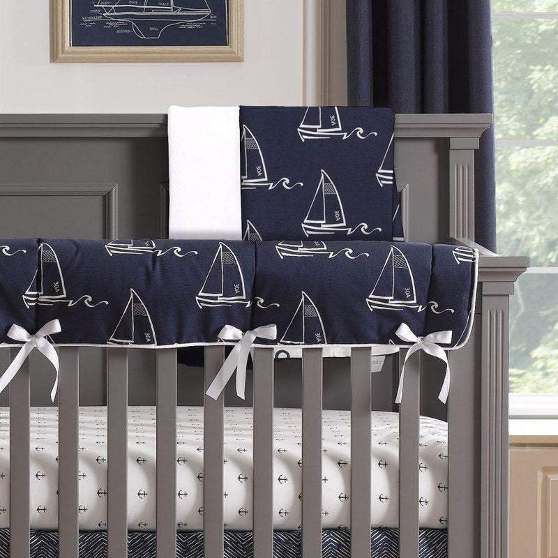 Liz & Roo Nautical Sailboats Minky Receiving Blanket