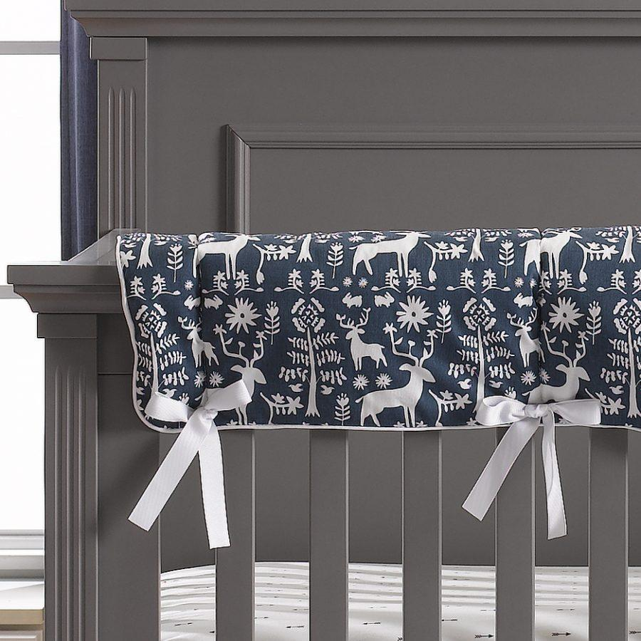 Liz & Roo Woodland Forest (Navy) Crib Rail Cover