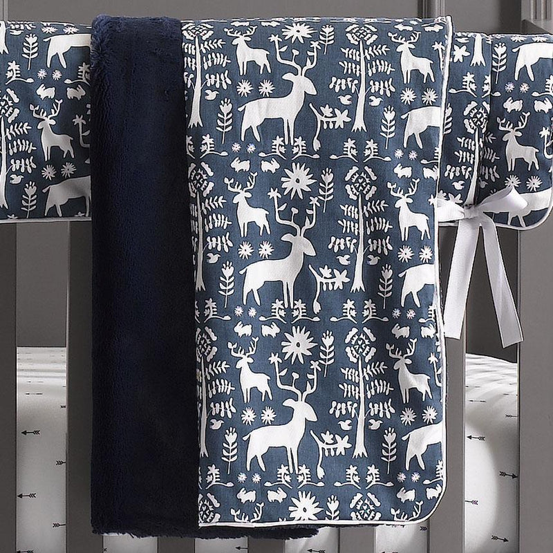 Liz & Roo Woodland Forest (Navy) Minky Receiving Blanket