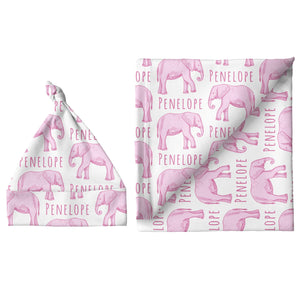 Sugar + Maple Small Blanket & Hat Set - Elephant Pink