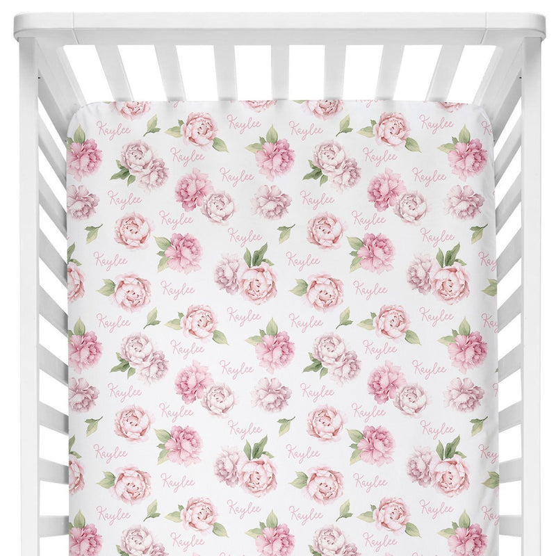Sugar + Maple Crib Sheet - Pink Peonies