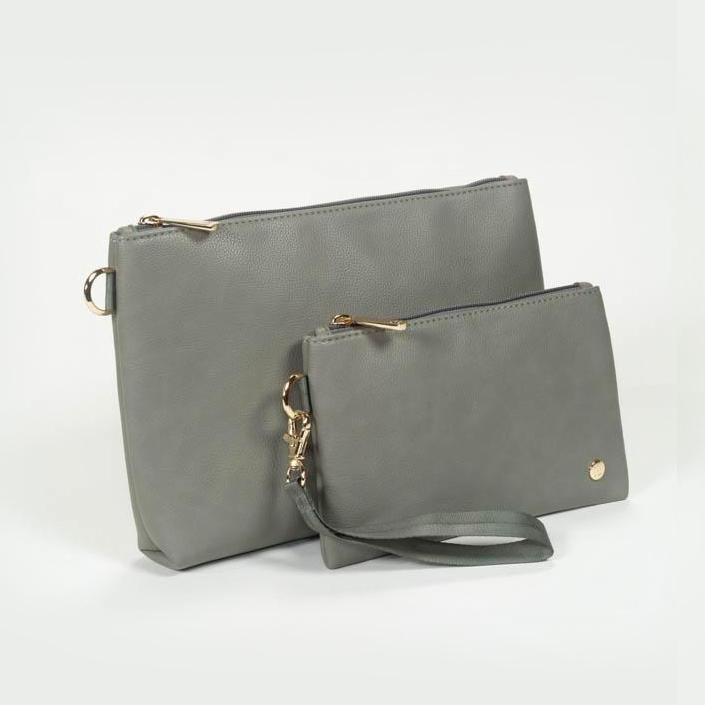 Little Unicorn Vegan Leather Pouch Set - Grey Umber