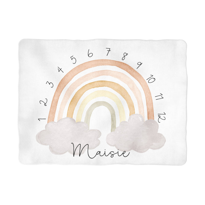 Sugar + Maple Neutral Rainbow Arch Milestone Blanket - Personalized