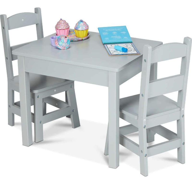 Melissa & Doug Wooden Table & Chairs Gray