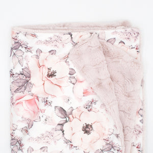Sugar + Maple Wallpaper Floral Minky Blanket - Non-Personalized