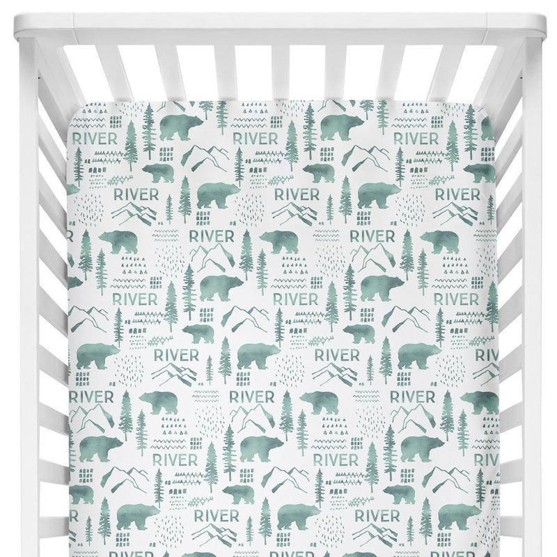 Sugar + Maple Crib Sheet - Woodland Green