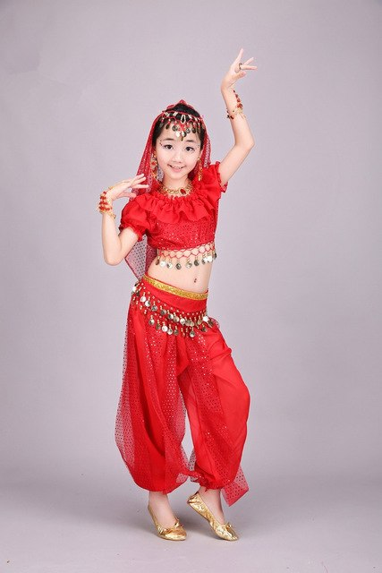 Belly Dance Costume Kids Indian Dance Dress Child Bollywood Dance Costumes  Red/Rose/Yellow 3 Colors