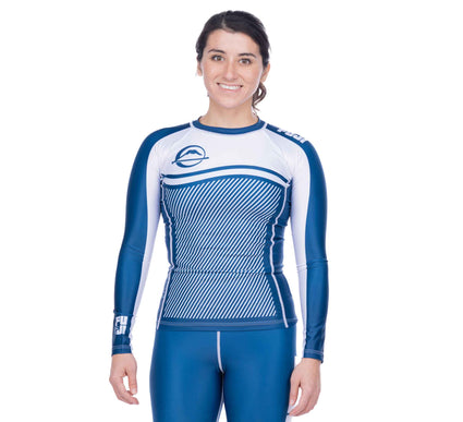 Script Women's Long Sleeve Rashguard Blue