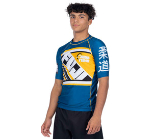 Skyline Blue/Yellow Short Sleeve Rashguard