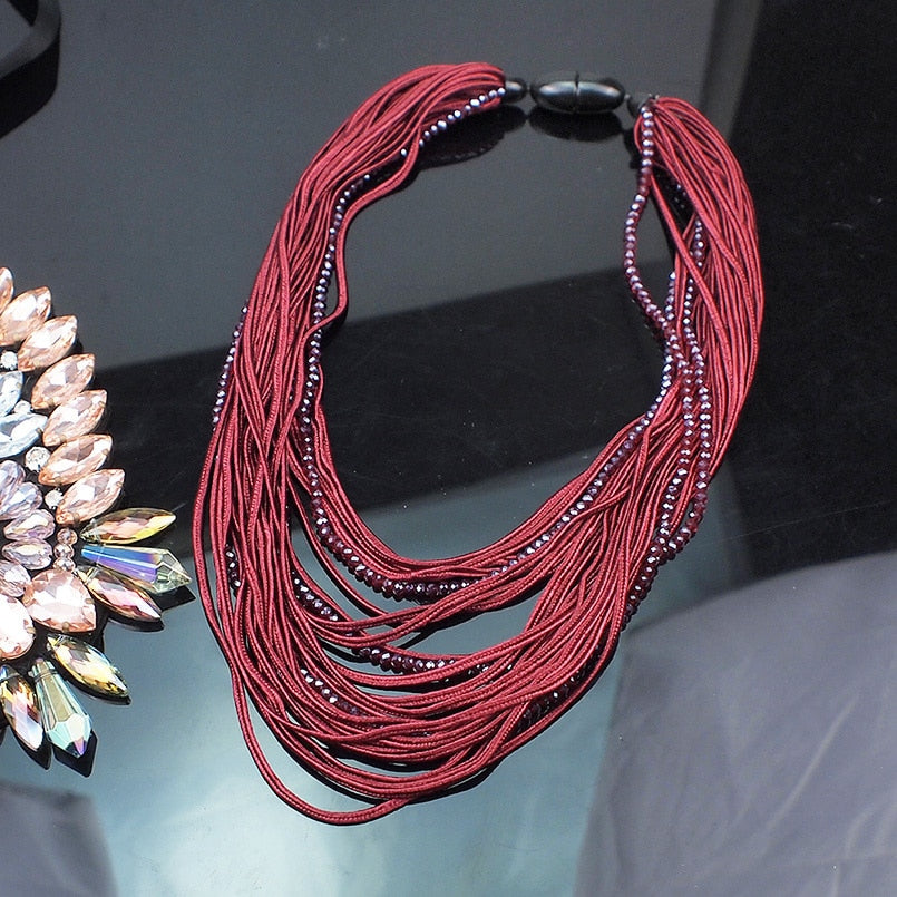 BOHO STYLE STATEMENT CRYSTAL BEADED NECKLACE