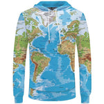 World Map 3D Print Hoodies For Men