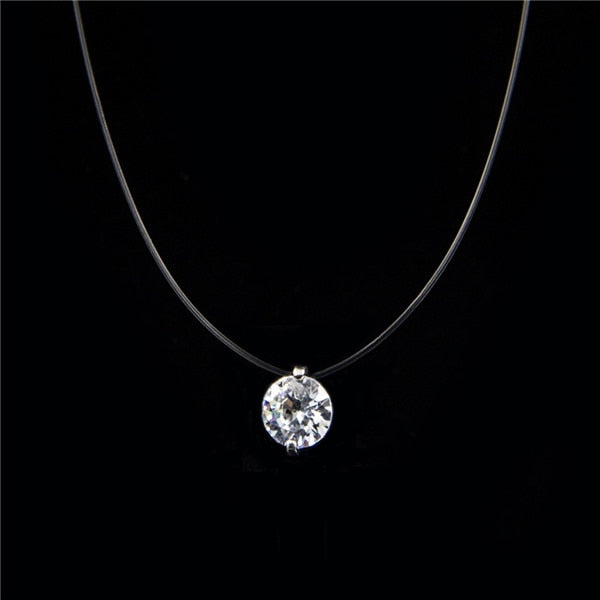Transparent Silver Invisible Chain Necklace With Zirconia Cube (Rhinestone)