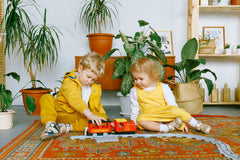 children sharing a train set during play