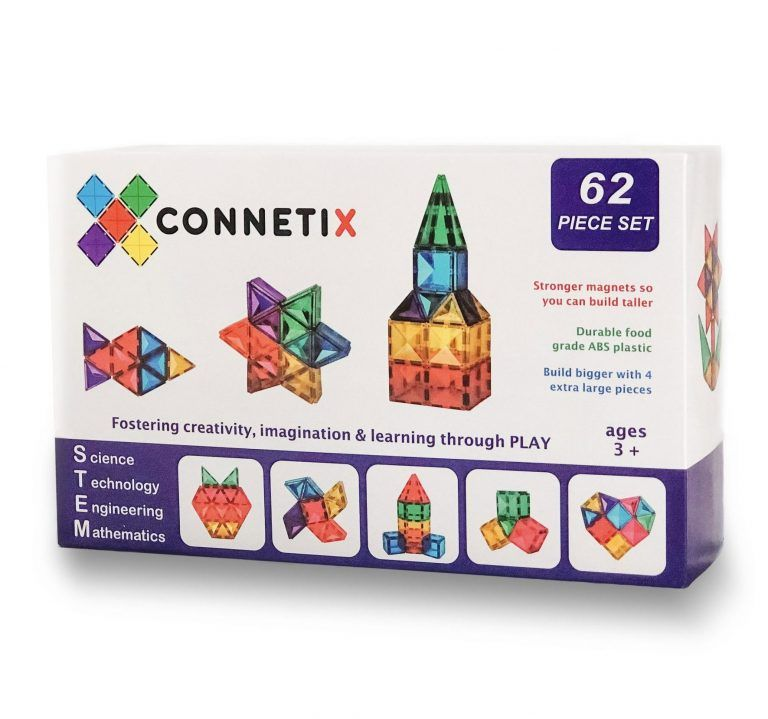 connetix magnetic tiles 62 piece set in the box