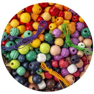 Rainbow Wooden Bead Threading Kit