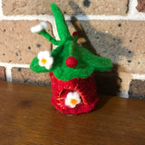 tiny strawberry hand felted fairy house