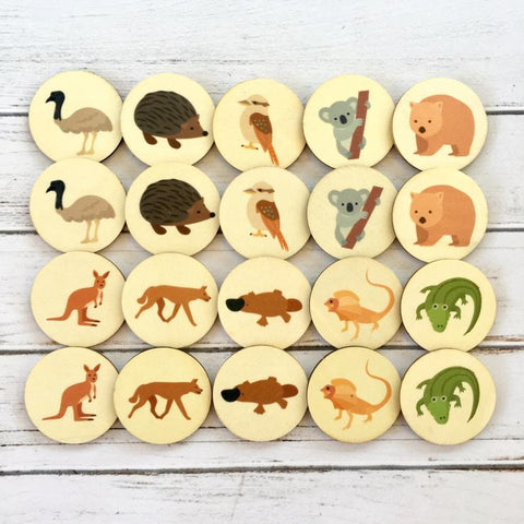 Australian animal memory matching disc game