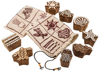 Beach Wooden Block Print Stamps