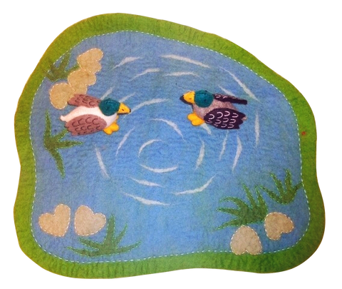 Felt Duck Pond with Two Ducks - Sticks & Stones Education