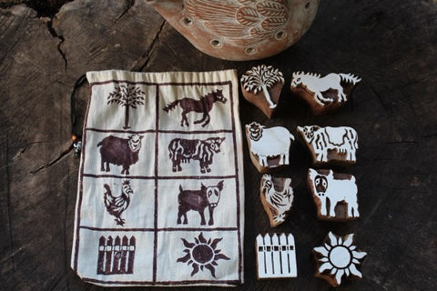 Farm Animal Wooden Block Print Stamps