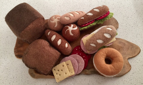Felt Bread and Sandwich Toppings on Wood Slice