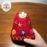 embroidered felt red nesting dolls
