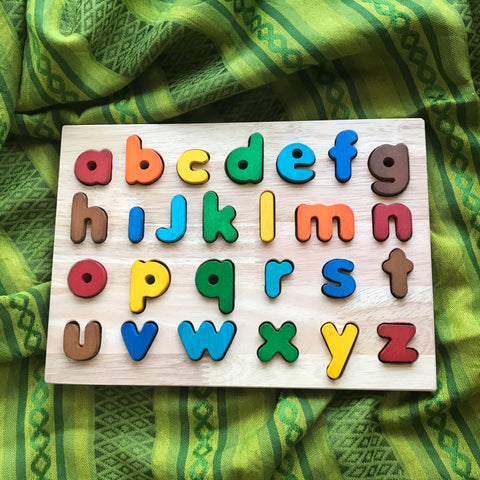 wooden lowercase colourful alphabet puzzle