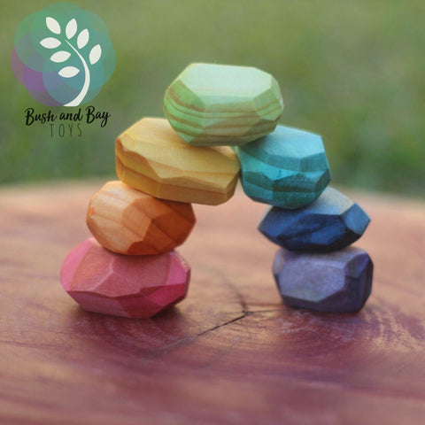 Rainbow Wooden Gems PREORDER - Sticks & Stones Education