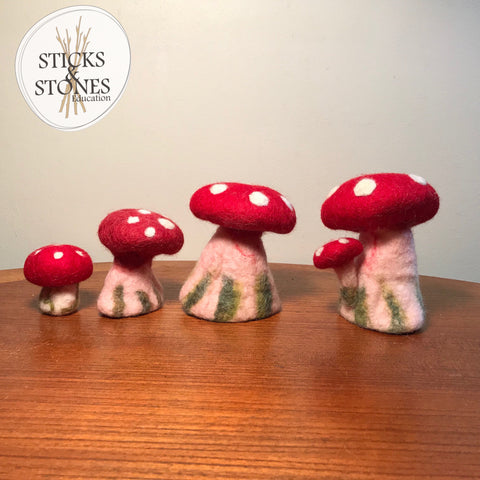 Felt Toadstool Set Of 4 - Sticks & Stones Education