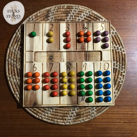 Wooden Natural Counting Tray on Placemat