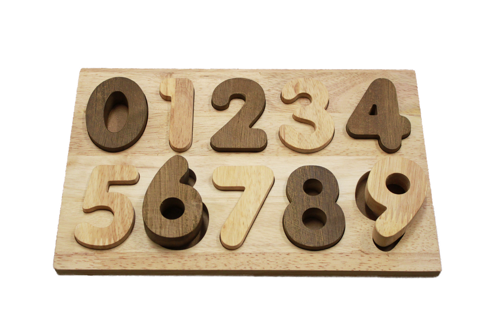 natural wooden number puzzle