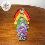embroidered felt rainbow nesting dolls