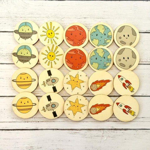 space friends memory match wooden disc game