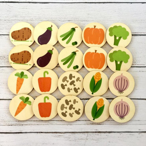 vegetable memory match game on wooden discs