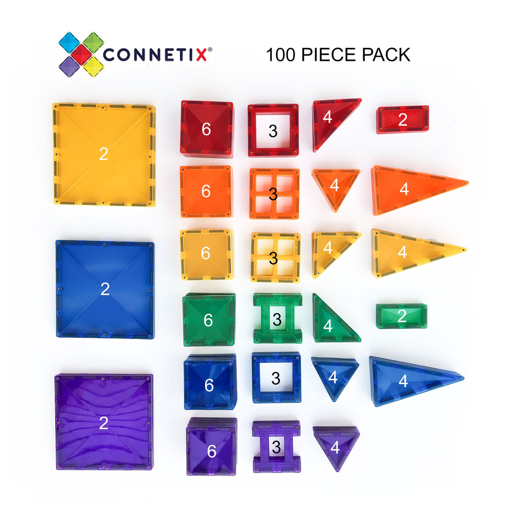 connetix mangetic tiles 100 piece set