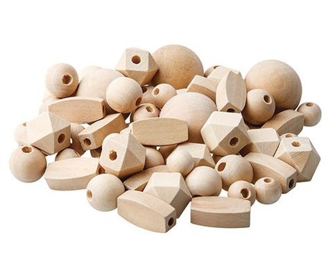 Wooden Geometric Beads in Natural - 92 pieces
