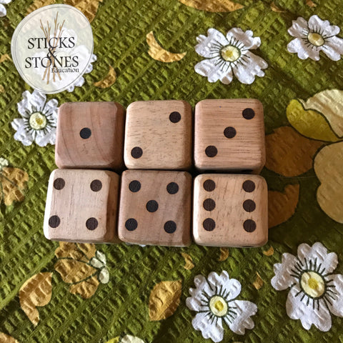 Wooden Dice - Sets of 6, 3 or 2