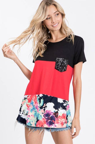 Red and Black Color Block Shirt