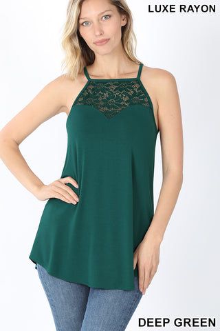 LUXE RAYON LACE-PANELED SLEEVELESS