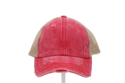 Denim Washed Criss Cross High Pony Ball Cap
