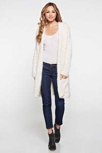 The Coziest Fuzzy Hooded Cardigan