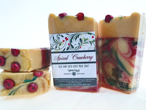 Cranberry Spice, Holiday 2018 Silk, Shea, Soap Handmade Handcrafted Artisan Soap