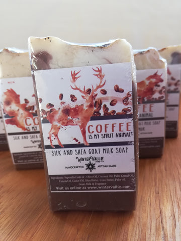 Coffee is my Spirit Animal , Silk, Shea, Soap Handmade Handcrafted Artisan Soap
