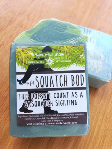 Squatch Bod Pine Big Foot Silk, Shea, Soap Handmade Handcrafted Artisan Soap Sasquatch