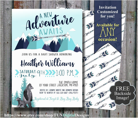 Adventure Awaits Baby Shower Invitation Modern Mountain Baby Shower Tribal Arrow Mountains, Bear Cub, Deer | Travel Invite | Mint | Digital