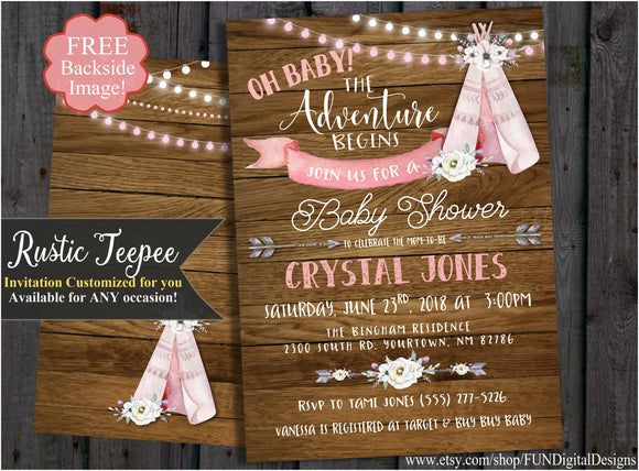 Boho Teepee Baby Shower Invitation, Rustic, Adventure Begins, Tribal, Wood background, Watercolor, Travel Invite It's a Girl | Digital