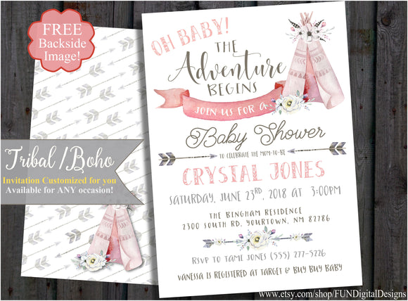 Teepee Baby Shower Invitation, Adventure Begins, Tribal, Boho, Tribal Arrow, Watercolor, Travel Invite It's a Girl | Pink | Digital