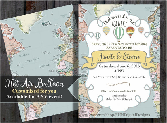 Adventure Awaits | World Map | Baby Shower Invitation | Hot Air Balloon | Around the World | printable, digital file, PDF