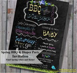 SPRING BBQ and diaper party, couple, dad baby shower invitation, chalkboard invitation, printable, digital file
