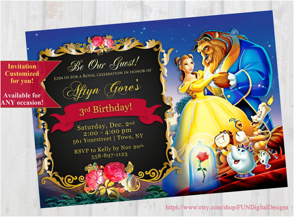 Beauty and the Beast Invitation | Beauty and the Beast Birthday Invitation | Belle Invitation